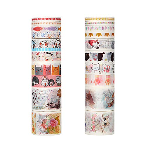 Molshine Set of 20 Japanese Washi Masking Tape, Cute Washi Tape, Sticky Paper Tape for DIY, Decorative Craft, Gift Wrapping, Scrapbook- Cute Cat Series