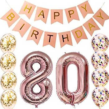 80th Birthday Decorations Party Supplies Balloons Rose Gold80th BannerTable Confetti Decorations80th For Womenuse Them