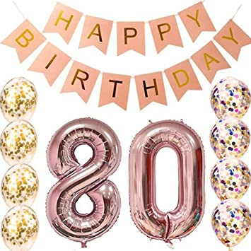80th Birthday Decorations Party Supplies Balloons Rose Gold80th Banner