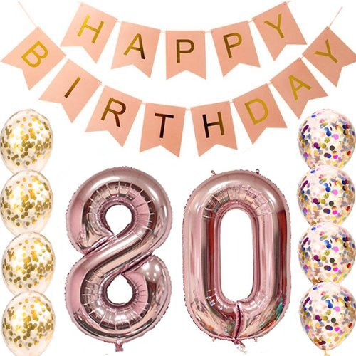 80th Birthday Decorations Party supplies-80th Birthday Balloons Rose Gold,80th Birthday Banner,Table Confetti Decorations,80th Birthday for Women,use Them as Props for Photos (Rose Gold 80) -