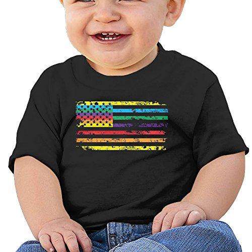 GuiH Rainbow American Flag Make American Gay Again Boys & Girls Infant Raglan Soft 100% Cotton Tee Unisex Black 18 Months
