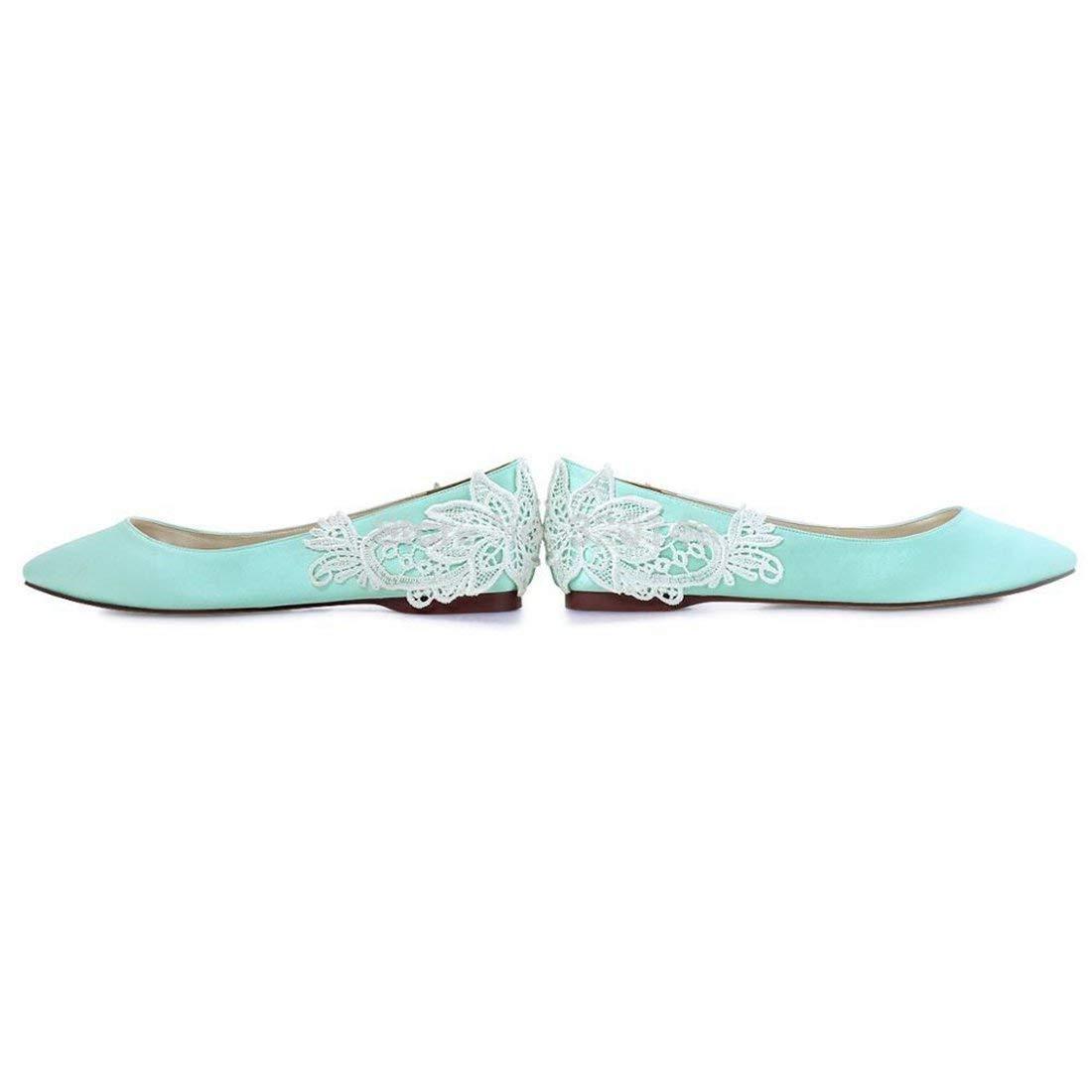Qiusa Damen Mandel Zehe-Spitze-Blaumen-Satin-Bequeme Zehe-Spitze-Blaumen-Satin-Bequeme Zehe-Spitze-Blaumen-Satin-Bequeme handgemachte Ballett-Ebenen (Farbe   Grün Größe   3 UK) 0fae0d