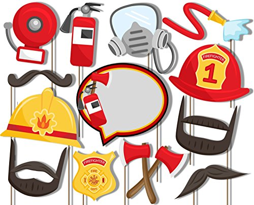 [Fire Fighter Photo Booth Props Kit - 20 Pack Party Camera Props Fully Assembled] (Firefighter Decorations)