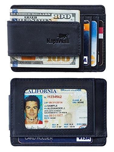 NapaWalli Genuine Leather Magnetic Front Pocket Money Clip Wallet RFID Blocking (Crazy Horse Deep ()