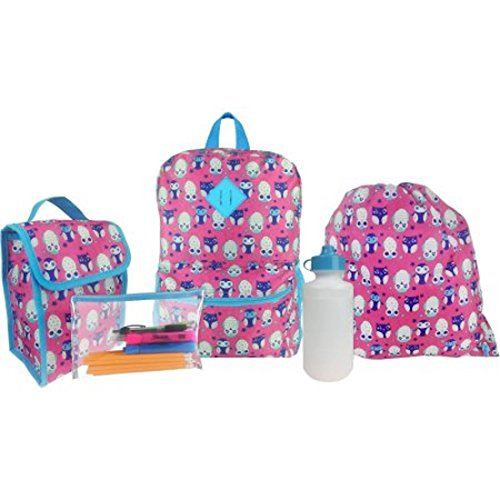 Kids 5 Piece Owl Backpack Set - Backpack, Lunch Bag, Wate...