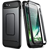 YOUMAKER Case for iPhone 8 Plus & iPhone 7 Plus, Full Body with Built-in Screen Protector Heavy Duty Protection Shockproof Slim Fit Cover for Apple iPhone 8 Plus (2017) 5.5 Inch - Black