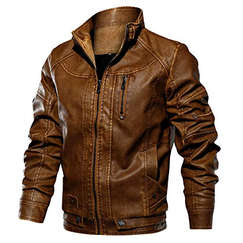 ReFire Gear Motorcycle Riding Leather Jacket Men Casual Windproof Warm Stand Up Collar Faux Leather Bomber Coat