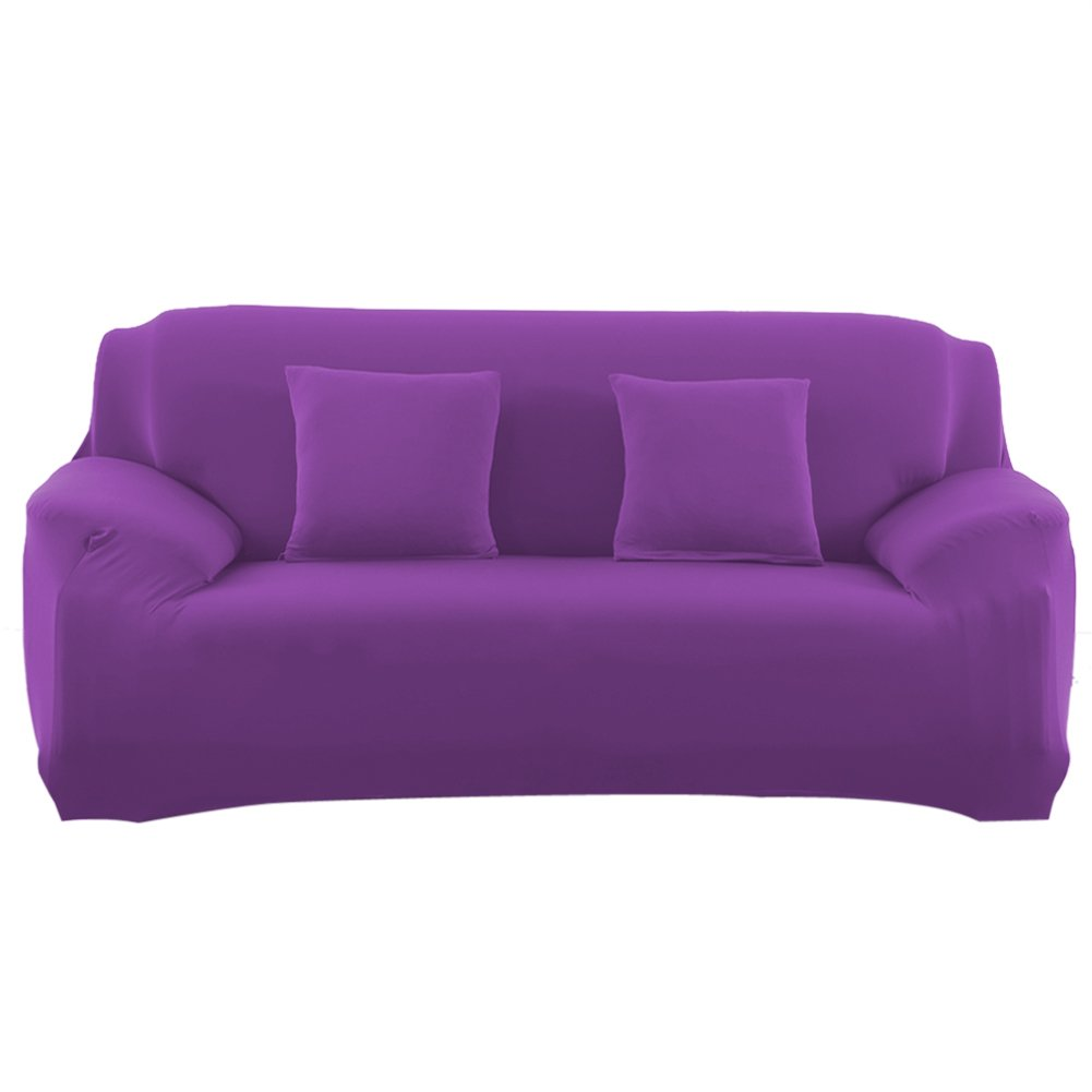 Vipeco Slipcover Stretchable Pure Color Sofa Cushion Covers (Loveseat Purple) by Vipeco (Image #1)