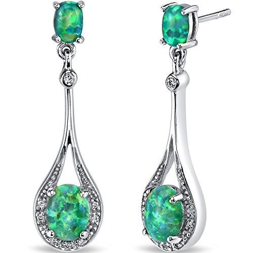 Created Green Opal Paddle Drop Earrings Sterling Silver 3.75 Carats