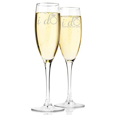 I Do and I Do Whatever She Says Champagne Toasting Flute Glasses, Set of 2