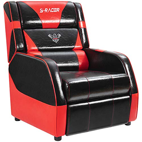 Price comparison product image Gaming Recliner Chair Living Room Sofa Single Recliner PU Leather Recliner Seat Home Theater Seating with Removable Cushions Sracer (Red)