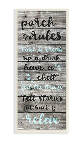 Stupell Home Décor Porch Rules Rustic Blue Sit Back and Relax Wall Plaque Art, 7 x 0.5 x 17, Proudly Made in USA