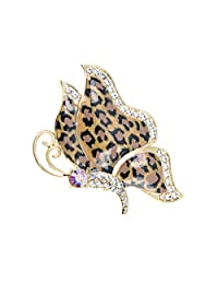 Alilang Golden Tone Butterfly Insect with Enamel Wild 80s Cheetah Cat Pattern Wing Animal Brooch Pin