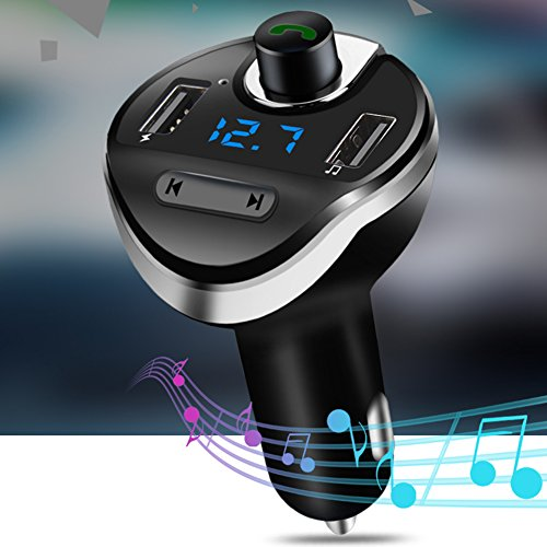 Misszhang-US Hands-Free Bluetooth MP3 Player Dual USB Port Cigarette Lighter Car Charger - Black