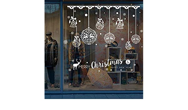 Amazon.com: Chitop DIY White Snow Christmas Wall Stickers - Window Glass Festival Decals Santa Murals New Year Christmas Decorations for Home Decor (7): ...
