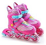 Childrens Kids Boys Girls 4 Wheel Adjustable Inline Skates Roller Blades Boots (Pink, Medium /UK 2 - 4/)