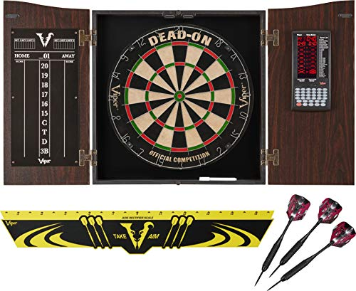 (Viper Vault Deluxe Dartboard Cabinet with Integrated Pro Score, Dead On Dartboard, Toe Throw Line, and Black Mariah Steel Tip Darts ,Mahogony Finish)