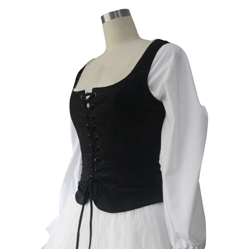 Lady Pirate Black Faux Suede Fabric Lace-Up Bodice Costume Vest - DeluxeAdultCostumes.com