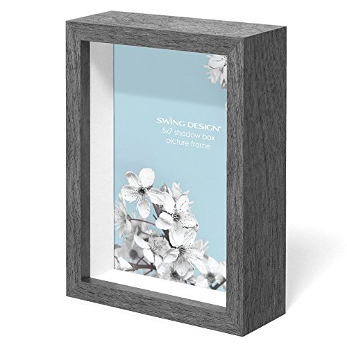 Swing Design Chroma Shadow Box Frame, 5 by 7-Inch, Charcoal Gray