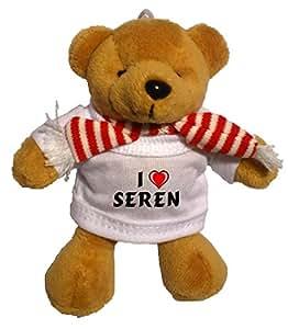 Llavero de oso marrón de peluche con Amo Seren en la camiseta