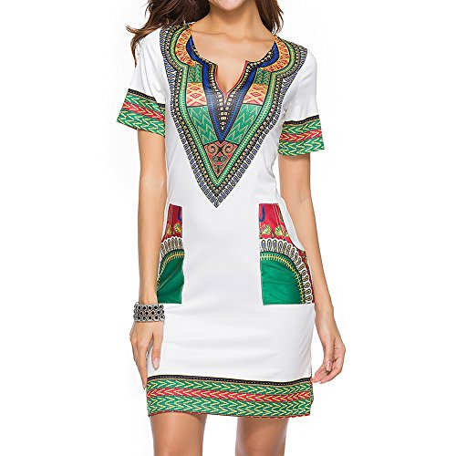 Mesdames robe d't hibote dcontract court v-cou robes africaines sexy mini robe de plage des femmes Beige