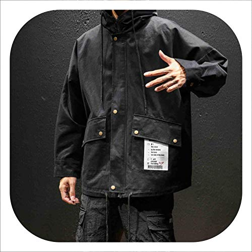 Hip hop Hooded Jacket for Men Loose Casual Mens ceket casacas para Hombre Baseball Jacket kurtka Roupas Masculina Pilot,Black,XL -