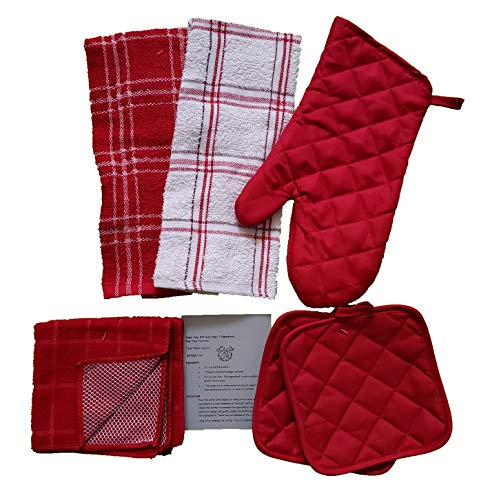 - The Spotted Moose Kitchen Linen Set White/Red 7 Piece Bundle - 2 Dish Towels, 2 Dishcloths, 2 Potholders, and 1 Oven Mitt (Red)