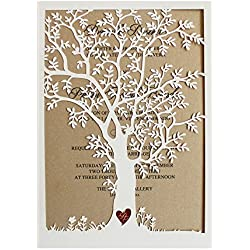 Laser Cut Tree Wedding Invitation, Fall Wedding Invitation Cards, Tree Wedding Invite, Rustic Wedding Invitations - Pack of 50