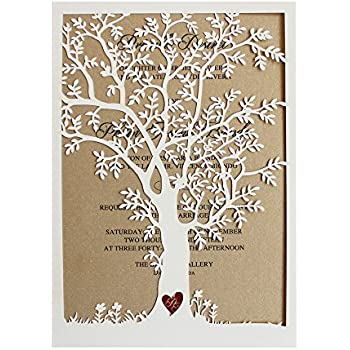 Laser Cut Tree Wedding Invitation, Fall Wedding Invitation Cards, Tree  Wedding Invite, Rustic
