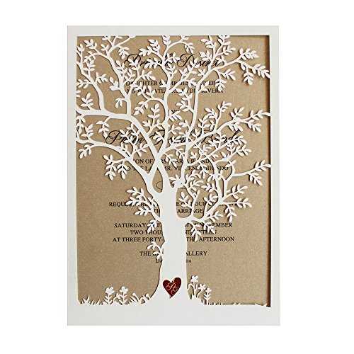Laser Cut Tree Wedding Invitation, Fall Wedding Invitation Cards, Tree Wedding Invite, Rustic Wedding Invitations – Pack of 50