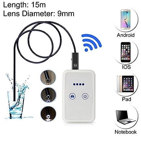 # 60 2.0/MP HD Camera 30/M Wireless Distanza WiFi endoscopio Tubo ispezione Camera for Android Length: 15/m, Lens Diameter: 9/mm ALLSHOPSTOCK