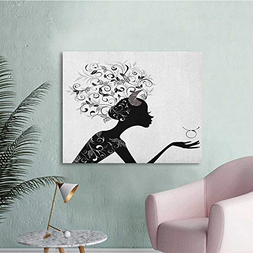 Anzhutwelve Zodiac Taurus Wall Paper Fashion Girl Black Silhouette with Floral Hairdo and Dress Modern Icon The Office Poster Black and White W48 xL32