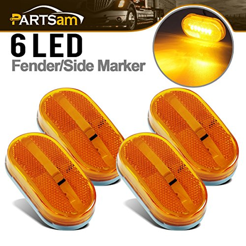 Partsam NEW Set of 4 Amber Side Marker Clearance Light 6 LED Surface Mount For Boat RV - Lens Set Marker