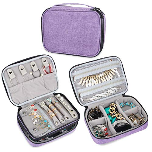 Teamoy Travel Jewelry Organizer Case, Storage Bag Holder for Necklace, Earrings, Rings, Watch and More, High Capacity and Compact,Purple