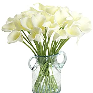 Aquarius CiCi 20 Pcs Artificial Calla Lily Flowers Latex Real Touch Bridal Wedding Bouquets Home Decoration 31