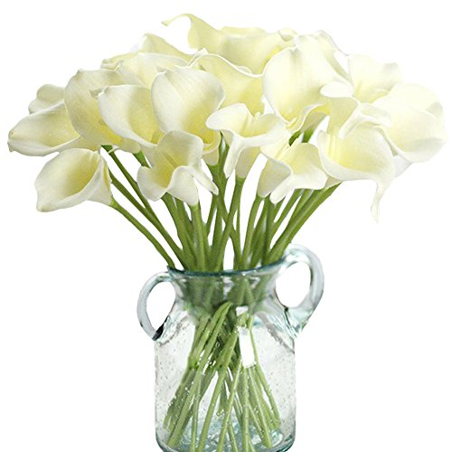 Aquarius CiCi 20 Pcs Artificial Calla Lily Flowers Latex Real Touch Bridal Wedding Bouquets Home Decoration(Off White)