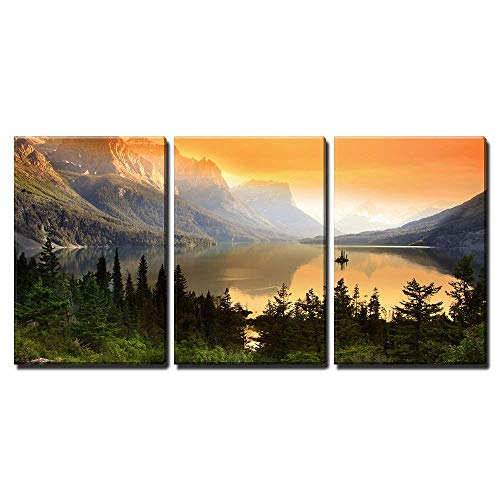 wall26 - 3 Piece Canvas Wall Art - Wild Goose Island on Saint Mary Lake in Glacier National Park, Montana - Home Decor - Ready to Hang - 16
