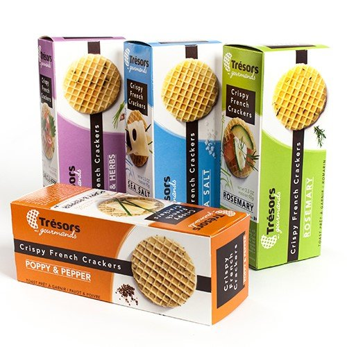 Crispy French Waffle Crackers by Tresors Gourmands - Garlic & Herbs (3.3 ounce) Cheese Herb Biscuits