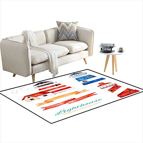 - Kids Carpet Playmat Rug Ocean Creature wi Lighthouse anribbons Banner 48
