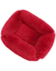 YH-KE Puppy Mat Square Dog Bed Long Plush Solid Color Pet Beds Compatible with Little Medium Large Pets Super Soft Winter Warm Sleeping Mats Compatible with Dogs Cats