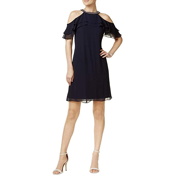 5613d3a0 MSK Womens Cold Shoulder Party Cocktail Dress Navy 6 at Amazon ...