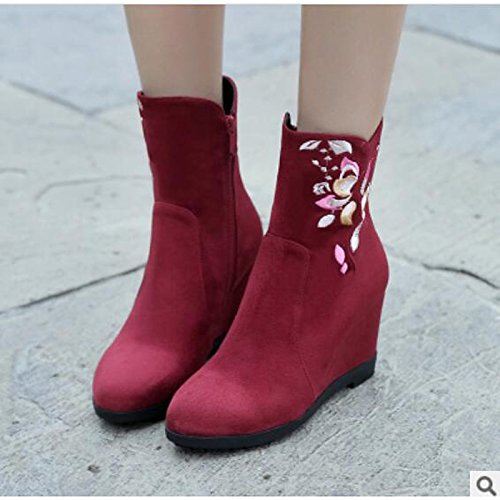for Fall Black Shoes HSXZ Boots Winter PU Red Comfort Boots Women's Black Flat Toe ZHZNVX Casual Ankle Booties Round Ew6qTX0
