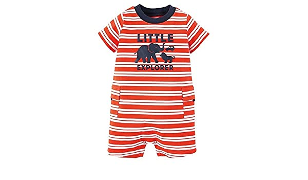 b129f01914df Amazon.com  Carter s Just One You Baby Boys Romper Orange White Stripe  (nb)  Clothing