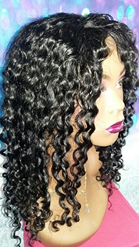 16 INCH INDIAN REMY HUMAN HAIR LACE FRONT FULL WIG GLUELESS DEEP WAVY SMALL by Angel Hair Haven