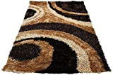 Cheap 8'x10' Brown Chocolate Beige Tan Gold 3D Shag Shaggy Area Rug Carpet Striped Woven Braided Hand Knotted Feizy Accent Fluffy Fuzzy Modern Contemporary Medium Pile Shimmer – Signature 289 Brown