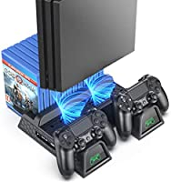 OIVO Regular PS4/ PS4 Slim/ PS4 Pro Cooler, Multifunctional Vertical Cooling Stand, PS4 Controller Charger with LED...