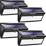 #LightningDeal Luposwiten Solar Lights Outdoor, 100 LED Waterproof Solar Powered Motion Sensor Security Light, Solar Fence Wall Lights for Patio, Deck, Yard, Garden (4 Pack)