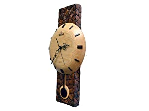 Teak Wood Wall Clock Antique Wooden Pendulum Clock (Brown Wood)
