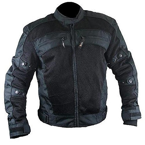 Xelement CF380 Mens Black Armored Mesh Jacket - 5X-Large ()