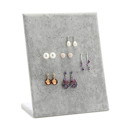 F&U Jewelry Frame Velvet Earrings Holder Earring Display Stand Display Shelf Show Case Organizer Tray (Grey)